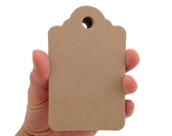 Large Kraft Brown Scalloped Top Tags - Create Something Truly Unique!