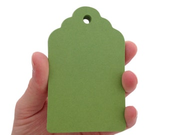 Large Gumdrop Green Scalloped Top Tags - Create Something Truly Unique!