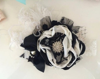 Baby Girl Headband, Baby Headband, Flower Girl Headband, Black Ivory Headband, Baby Headbands--Photo Prop