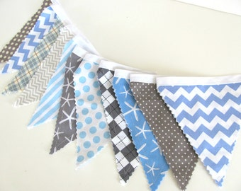 Bunting Banner Chevron Flags Boy's Birthday Party, Blue Grey Baby Shower, Nursery Decor - Starfish - Grey Chevron Gray