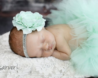 MINT TUTU with Sparkle Headband, Newborn Tutu, Baby Tutu, Infant Tutu, Newborn Photography Prop, Photo Prop, Tutus for Children, Birthday