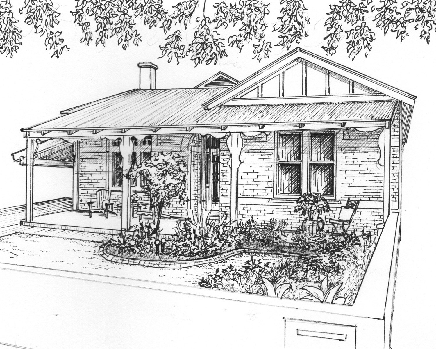 Custom house drawing in ink architectural sketch of your for Architectural drawings for houses