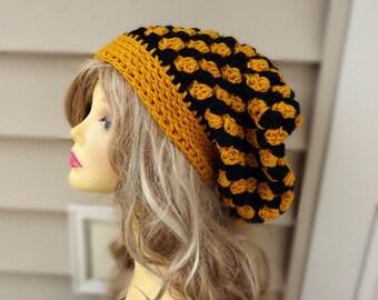 Crochet Slouchy Hat, Womens Hat, Crochet Beanie Hat, Womens Accessories- Slouchy  Hats Ladies Slouch Hat Winter Hat Checker Hat