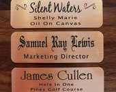 "Engraved Copper Plate Picture Frame Art Label Name Tag 3"" x 1"" with Adhesive on Back"