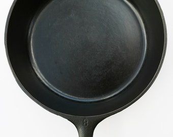 Very Fine Rare DEEP Chicken Fryer WAGNER No 8 Cast Iron Hinged Fry Skillet Pan w/ un-marked Cover, Professionally Cleaned Organic Seasoned
