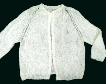 Vintage 60's Ivory Mohair Buttonless Cardigan 3/4 Sleeve M