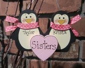 Personalized Penguin Couple Ornament - Sisters