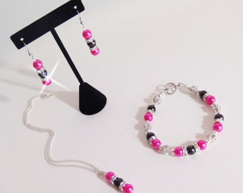 Hot Pink and Black Jewelry Set, Bridesmaid Jewelry, Glass Pearl Rhinestone Necklace, Bracelet and Dangle Earring Set Pick Your Own Color