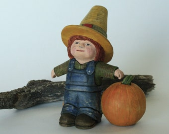 Boy Scarecrow Wood Carving Hand Carved Figurine Autumn Decor Hand Carved Scarecrow Fall Decor Kids Decor