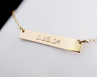 Personalized Gold Bar Necklace, Rectangle Minimalist, Handstamped Wedding Date, Gold Minimalist, Kardashian Inspired, Valentines Mothers Day