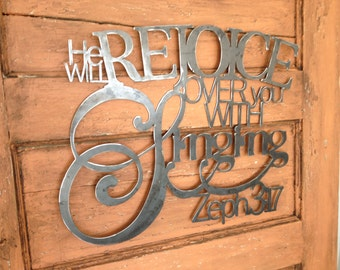 Metal Scripture Wall Hanging- He will Rejoice over you with Singing, Zephaniah 3:17