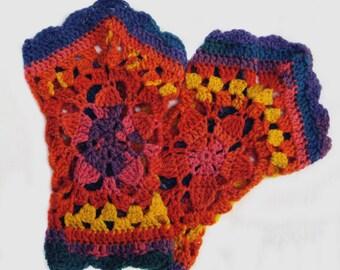 Rainbow Fingerless Gloves, Ombre Pentagon Wristcuffs, Rainbow Pentagon Handwarmers, Crochet Granny Pentagon Handwarmers