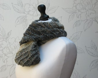 Tweed Bias Cowl, Grey/Black Ombre Cowl, Long Knit Infinity Scarf, Ombre Infinity Cowl, Winter Wool Cowl,