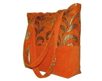 91- bag, purse, tote, handmade, orange