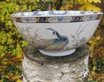 Vintage PEACOCKS Toyo Bowl Large Gorgeous Peacocks Inside and Out Blue Gold FREE USA Shipping