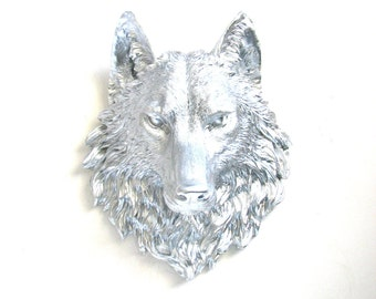 Faux Taxidermy Large SILVER Wolf Head Wall Mount faux animal head Wall Hanging Home Decor wolf wall art office wall decor nursery wall decor