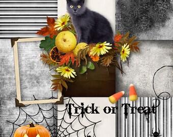INSTANT DOWNLOAD Trick or Treat - Fall Autumn Halloween Digital Scrapbook Kit
