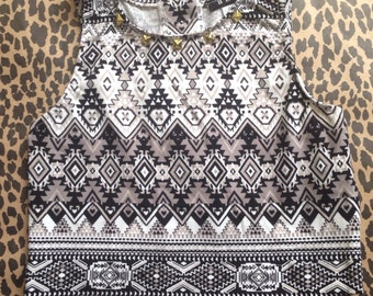 Studded Crop Top Tank Top - Black & White Tribal Print - Gold Button Back - Gold, Black or Silver  Studs