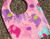 TODDLER or NEWBORN Bib: Tossed Elephants on Pink, Personalization Available