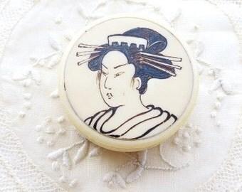 On sale was 325 dollars NOW 155 dollars  antique box japanese geisha / courtesan scrimshaw  pill box keepsake container .
