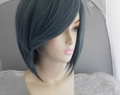 ON SALE // Short Straight A Line Wig – Beautiful Luscious Hair, Misty Blue Grey Wig, Cosplay Wig, Costume Wig, Silver Hair