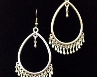 Silver teardrop dangle gypsy earrings