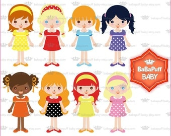 Pretty Girls Wearing Dress Clipart ---- Personal and Small Commercial Use ---- BB 0740