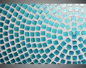 Painting Abstract Art Wall Art on large Canvas White Turquoise Green Metallic Squares 48 x 24 Ready to Hang painting by ilonka Made to Order
