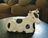 Vintage Black & Cream Milk Cow Figurine