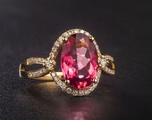 Engagement Ring -  2.3 Carat Red Tourmaline Engagement Ring With Diamonds In 14K Yellow Gold