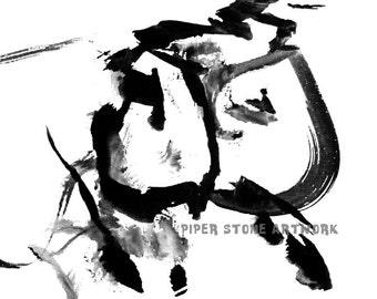 WOMAN FIGURATIVE PAINTING, Black and White Art by a Special Needs English Bulldog, Modern Art, Minimalist, Female Figure, Square Print - 8x8