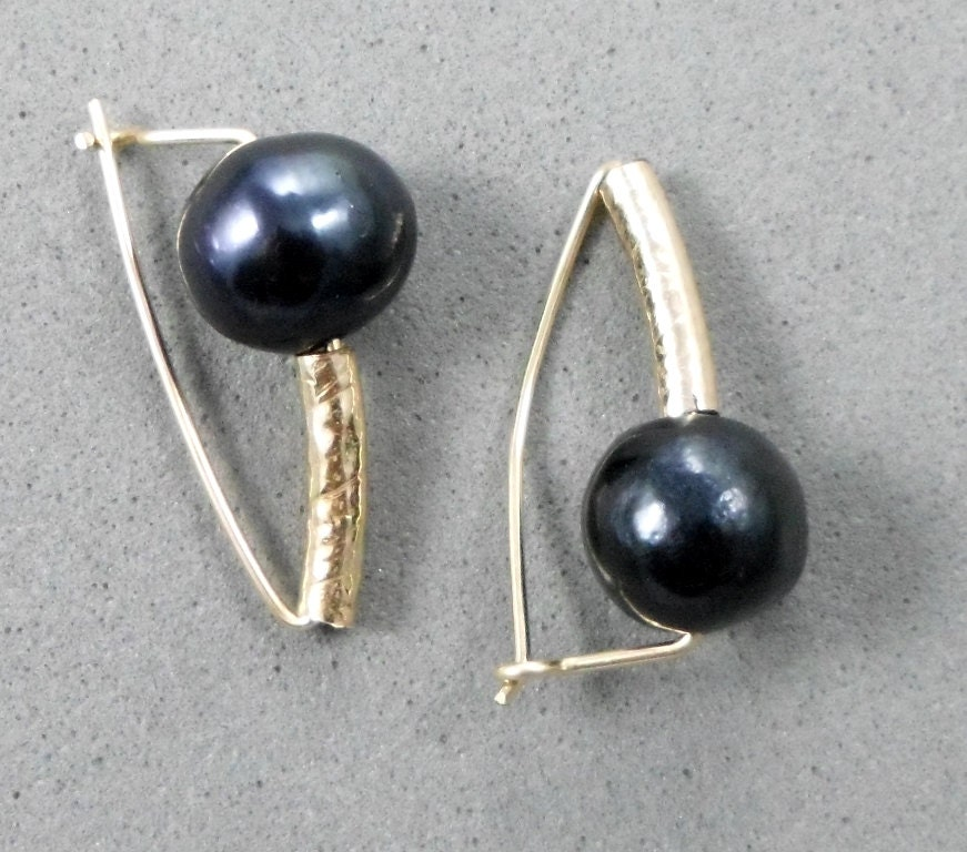 Earrings with Black Pearl and Gold Filled Tube