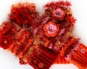 Fingerless crochet wrist/ arm warmers. Mixed red wools. Fluffy stripes. Fun Winter gift for her. Adult size, luxuriously warm and cosy