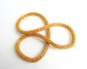 Gold  Crocheted Bead Necklace - Solid Pattern