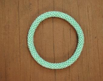 Mint Green Crochet Beaded Bracelet
