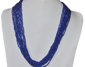 Electric Blue Multi-Strand Seed Beads Necklace with Gold Plated Findings, Nepal, N158