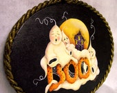 Painted Ghost Sign, Painted Boo Sign, Boo Ghosts, Ghost Decor, Oval Ghost Sign, Ghost on Black Sign, Ghosts with Moon, Ghosts/Webs, HHCOFG