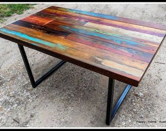 Custom Reclaimed Salvaged Wood Dining Table or Desk with Paint and Patchwork Stains