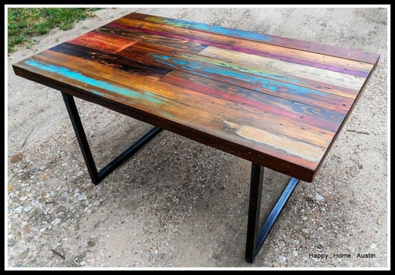 Custom Reclaimed Salvaged Wood Dining Table or Desk with Paint and ...