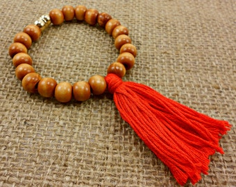 Boho Tassel Bracelet in Red