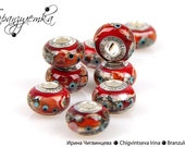 Luxury - 1 pc red European Bead lampwork - Charm glass beads with a large hole - 925 silver core