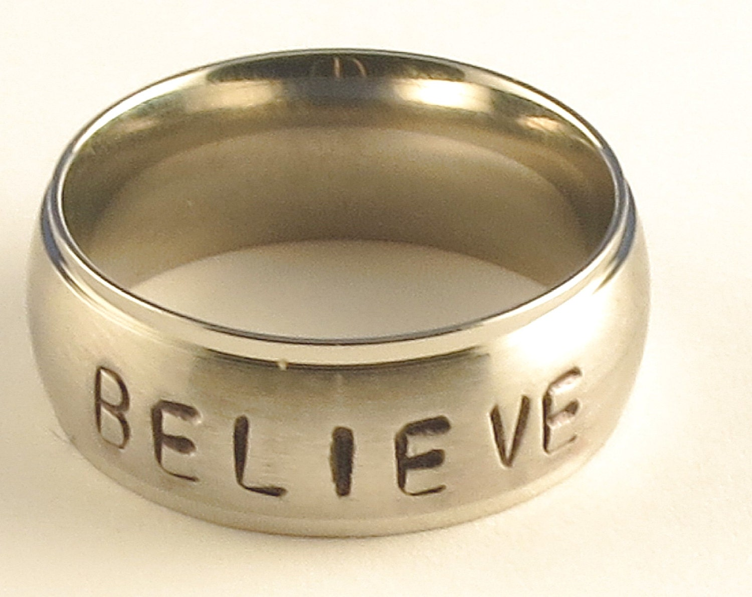 BELIEVE Stainless Steel Tri-Band Brushed Dome Comfort Fit Name Ring 8mm