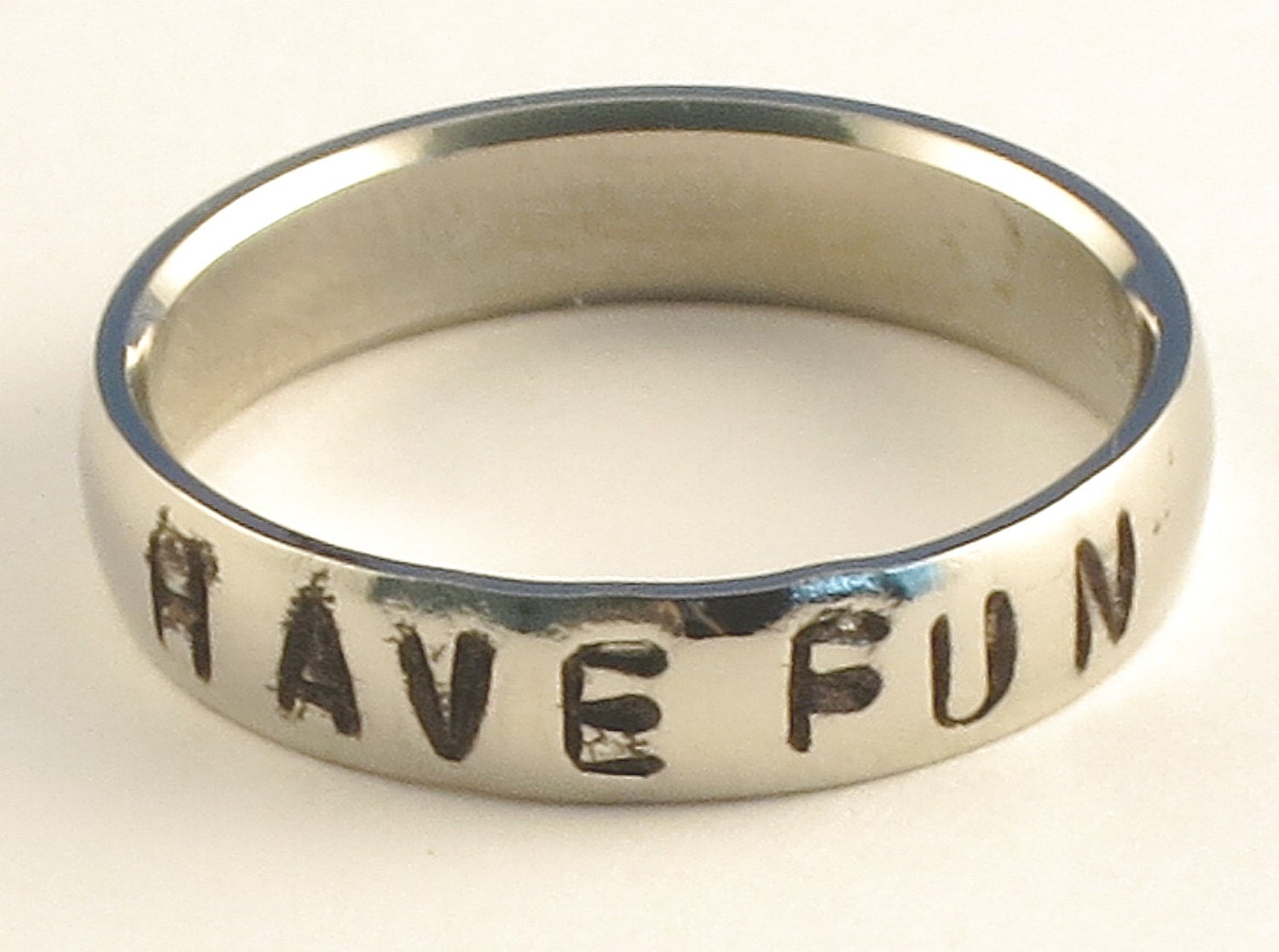 HAVE FUN - Personalized Hand Stamped Customized Stainless Steel Low Dome Name Ring 5mm Ring Sizes 3-14