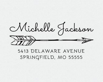 Custom Return Address Stamp, Self Inking Stam, Wedding Present, Arrow, Personalized Rubber Stamp, Housewarming, Bridal Shower Gift (T57)