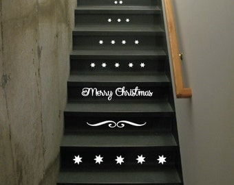 StickTak Stickers Christmas Stairs Vinyl Decal Stickers Xmas Staircase Decoration ST1094
