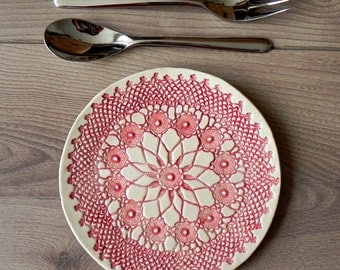Rustic Ceramic Plate Red Lace Dessert Plate Unique Serving Plate