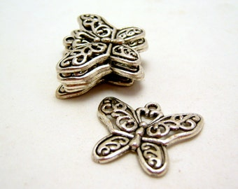 silver tone butterfly charm or pendant - 28mm - 2 pieces