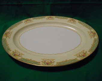 """One (1), 16"""" Oval, Porcelain Platter, from Noritake China. in a Variation of N 111 Pattern."""