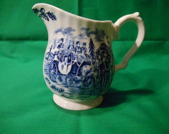 One (1), 6 oz. Creamer, from Myott, in the Royal Mail Blue Pattern.