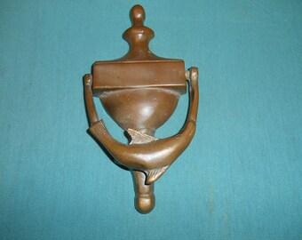 One (1), Vintage Solid Brass, Whale Door Knocker.